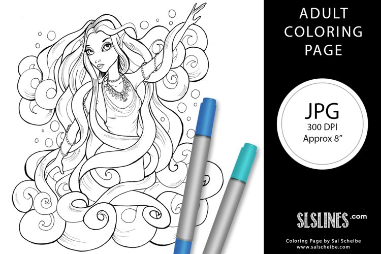 Elemental Air Fairy Adult Coloring Page JPG example image 1