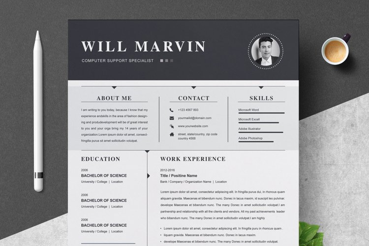 Resume Template / CV Design Template | MS Word | Apple Pages example image 1