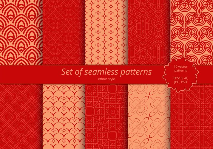 Set of seamless ornaments