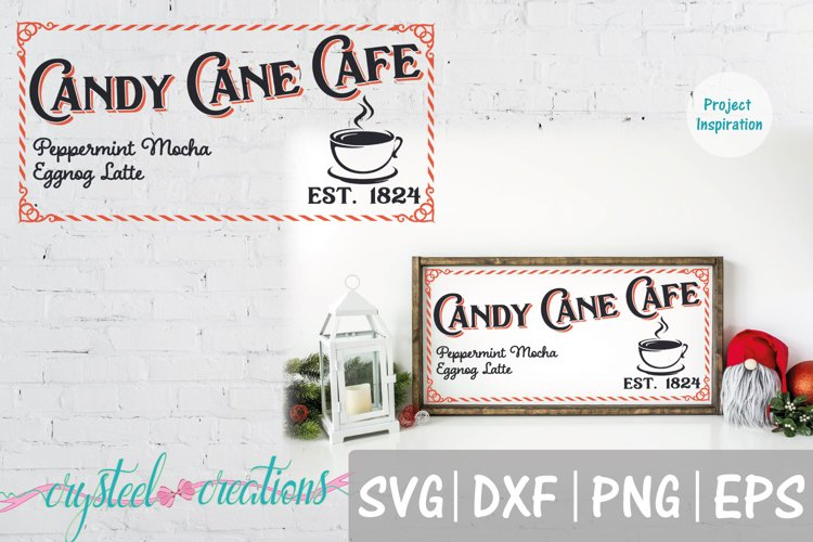 Candy Cane Cafe SVG, DXF, PNG, EPS example image 1