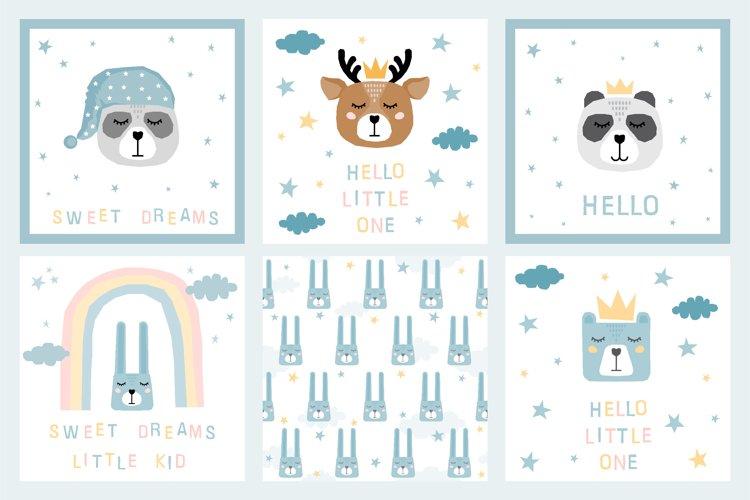 Cute childish sleeping animals collection. Digital paper.