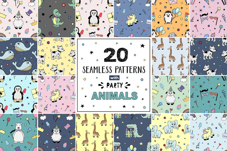 20 seamless patterns PARTY Animals - Free Design of The Week Font