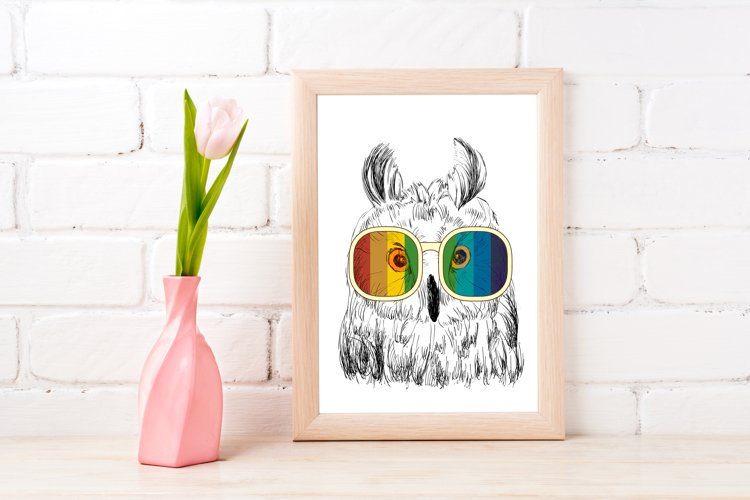 Fashion Owl Wall Art Printable - Instant Digital Download example image 1