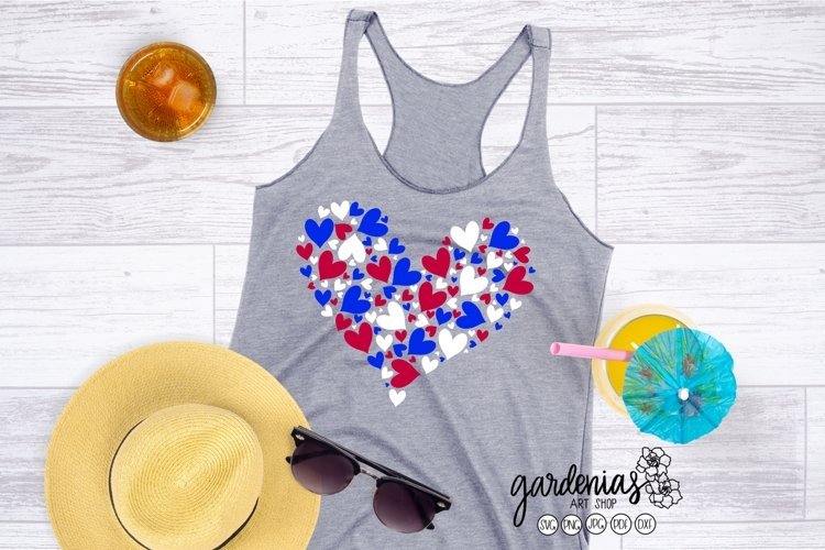Red White and Blue Hearts SVG   4th of July Cut File