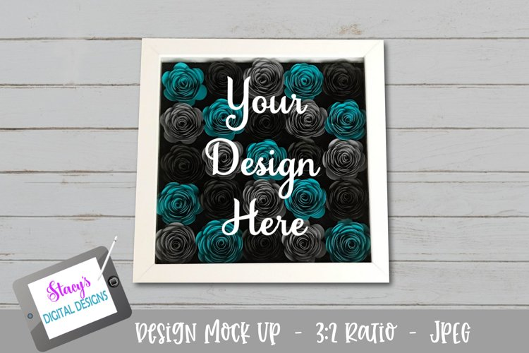 Mock Up - Rolled flower shadow box - Teal and Grey