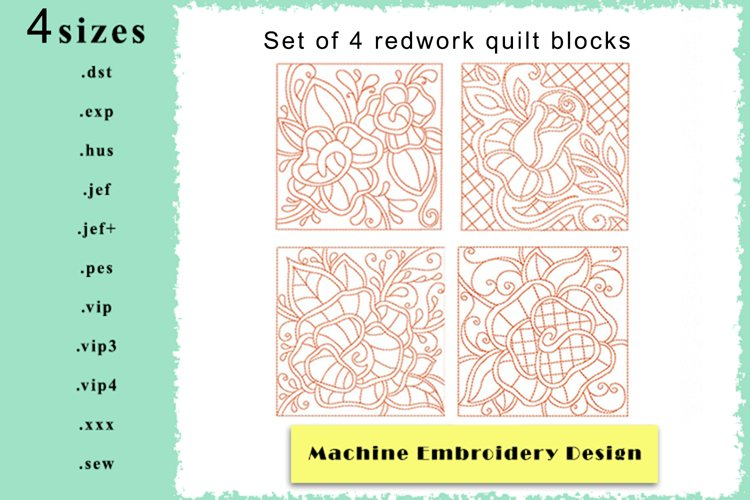 Redwork Rose Quilting Set of 4 Machine Embroidery