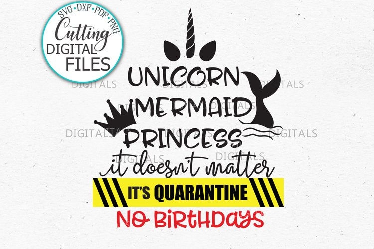 Unicorn Mermaid Princess Quarantine Birthday svg dxf cutting example image 1