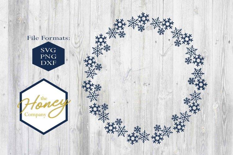 Snowflake Christmas Monogram Circle Holiday SVG PNG DXF example image 1