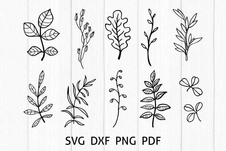 Greenery SVG Cut Files, Hand Drawn Leaves Bundle