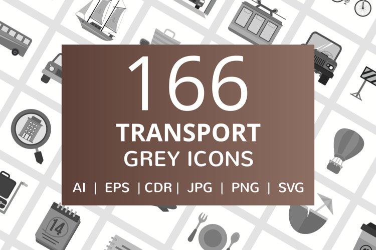 166 Transport Flat Greyscale Icons example image 1