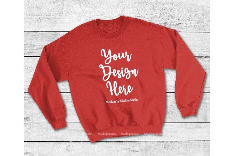 Red Sweatshirt Mock Up, Unisex Sweatshirt Flat Lay Display example image 1