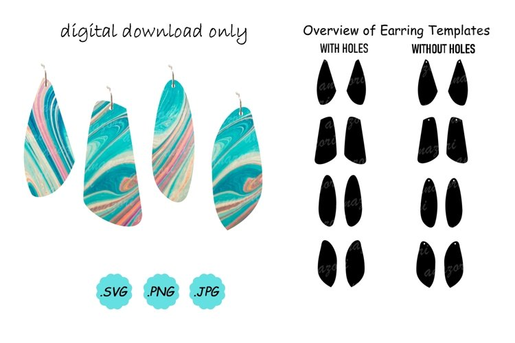 Earrings SVG Cut File, Earring Template SVG , Vector Pendant example image 1