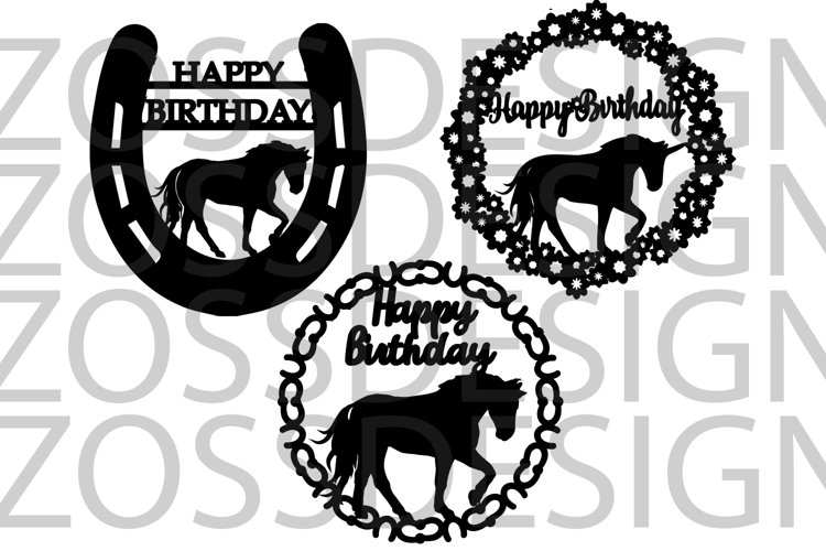 Horse and unicorn Birthday 3 svg cut files example image 1