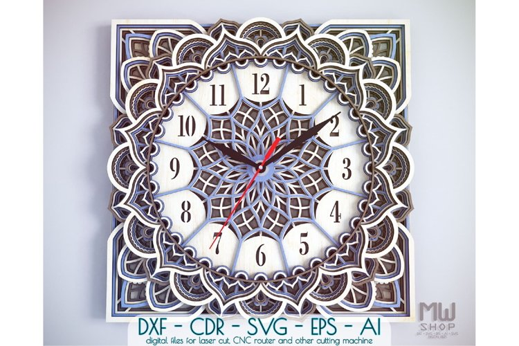 C11 - Wall Clock for Laser cut, Mandala Clock DXF pattern example image 1