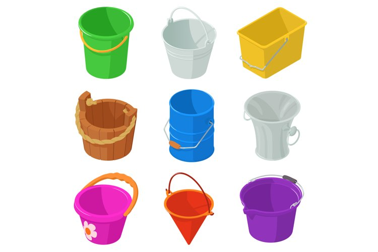 Bucket types container icons set, isometric style example image 1