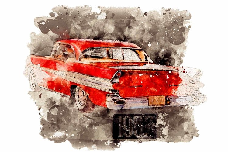 Watercolor 1957 Retro Car, Clip Art, Print, Sublimation PNG, example image 1