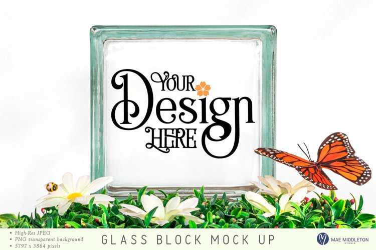 Square Glass Block mock up | Spring styled photo, jpg, png example image 1