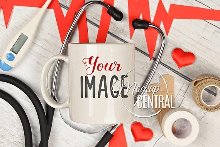 Nurse Coffee Glass Cup Mockup, Nursing Hospital, JPG