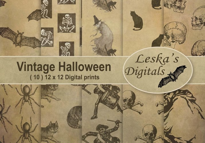 Vintage Halloween Digital Paper example image 1