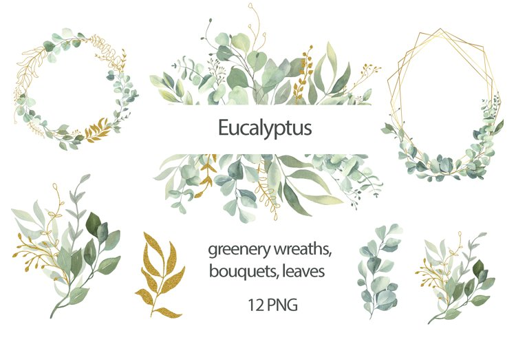 Greenery Watercolor Wreaths and Bouquets. example image 1