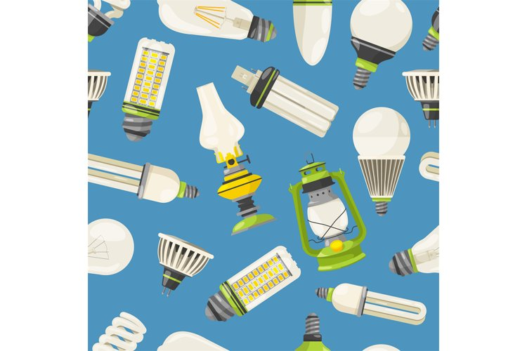 Lamps and different bulbs in cartoon style. Vector seamless example image 1