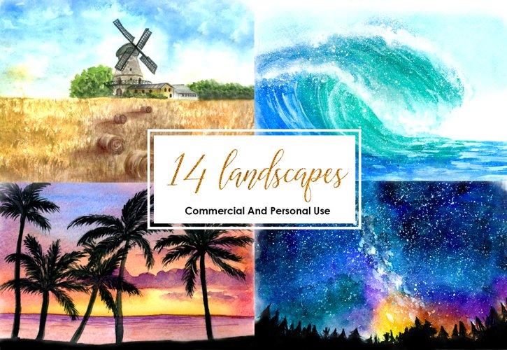 Watercolor Landscape Bundle Watercolor Beach Sunset Galaxy Texture Watercolor Farm Windmill