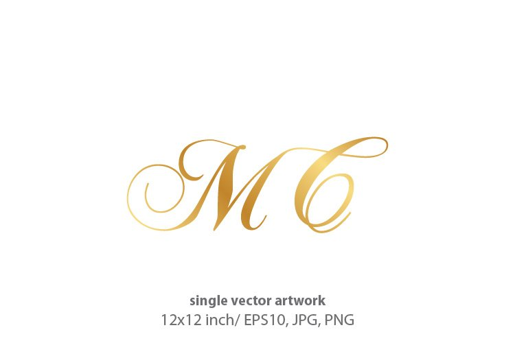 Calligraphic golden monogram letters M and C example image 1
