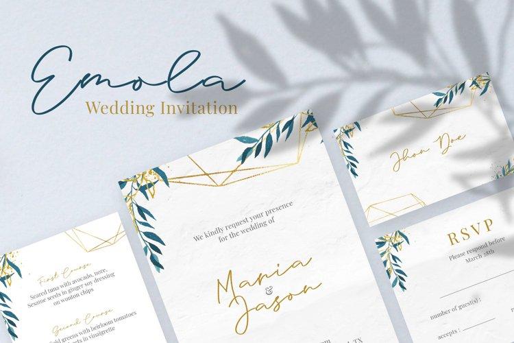 Emola Watercolor Wedding Invitation example image 1