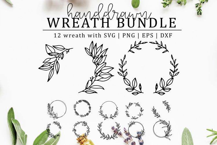 Hand-drawn Wreath SVG Cut File Bundle example image 1