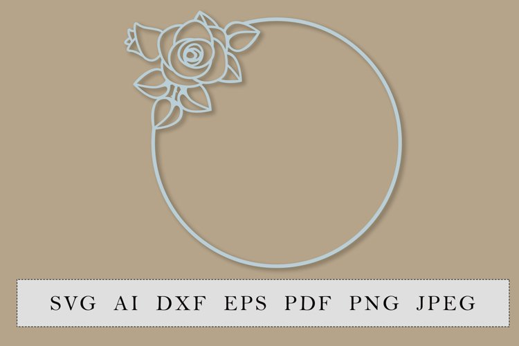 Round frame with rose flower