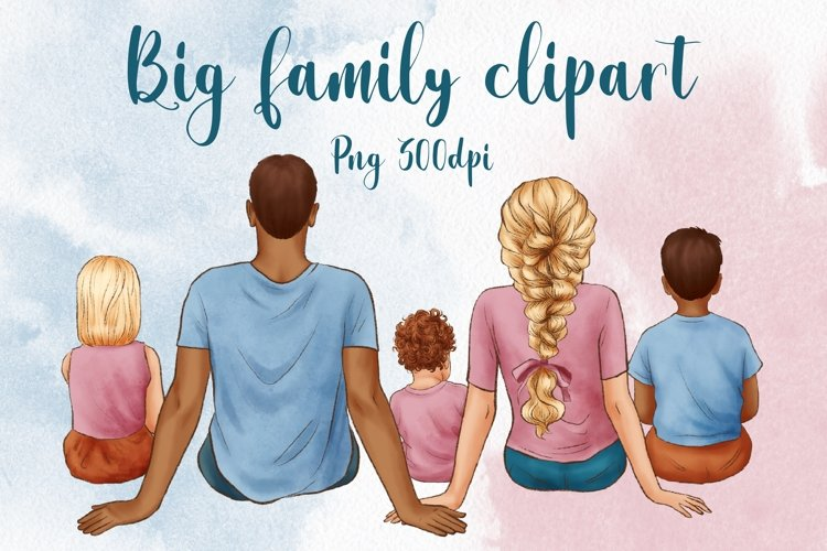 Big Family Clipart, Father's Day Clipart, Mother's Day example image 1