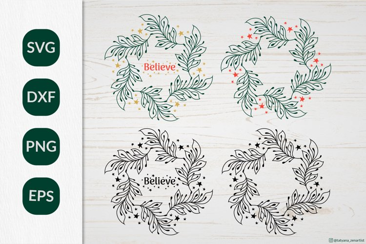 Christmas Wreath SVG graphic, Christmas ornament SVG file example image 1