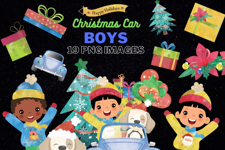 Christmas Cars Boys. Watercolor holiday clipart, vintage example image 1
