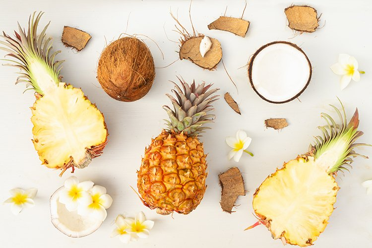 pineapples and coconuts