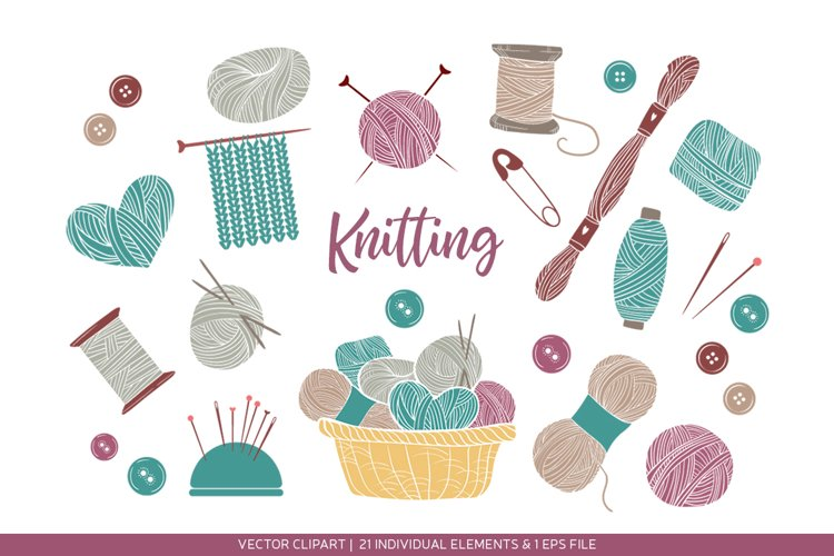 Set of knitting and crafts. Hand drawn illustrations example image 1