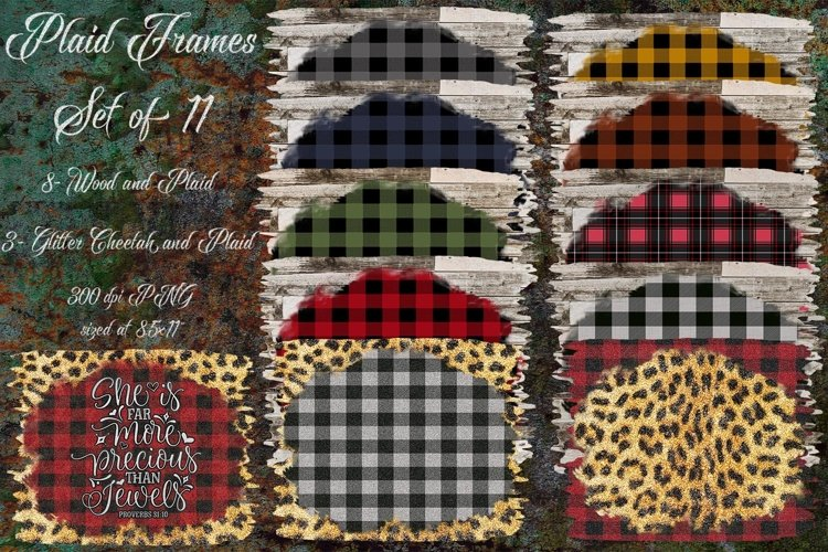 Wood and Plaid Frame Set of 11- Background Clipart Design example image 1