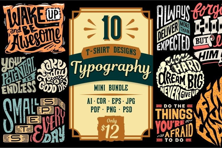 10 Typography T-shirt Designs Mini Bundle