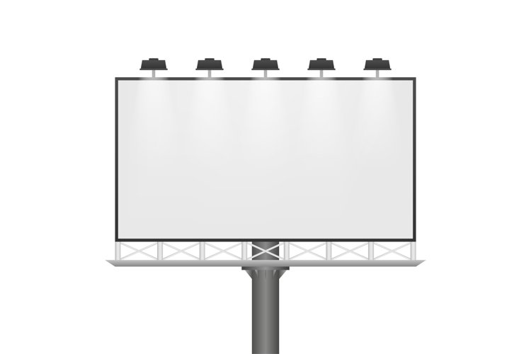 Billboard on light background. Empty white vector horizontal example image 1