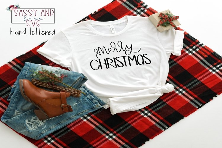Merry Christmas Hand Lettered Christmas SVG, PNG, & JPEG example image 1