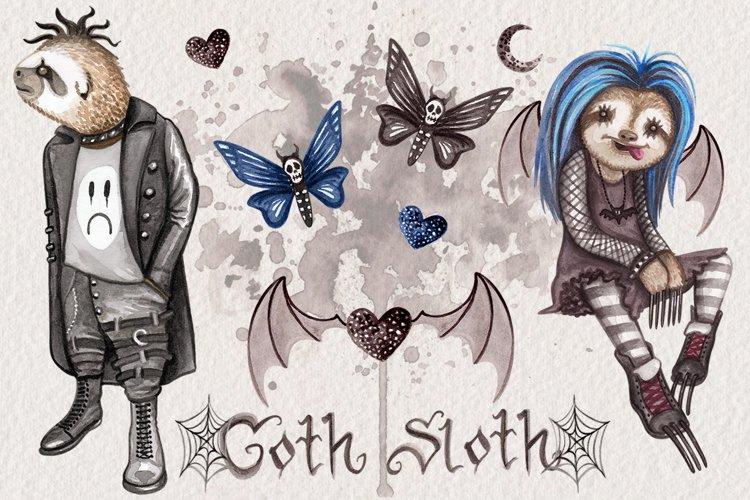 Goth Sloths Watercolor Clip Art example image 1