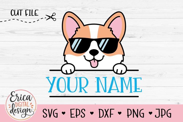 Baby Corgi SVG cut file Cute Puppy Dog Name Label Monogram