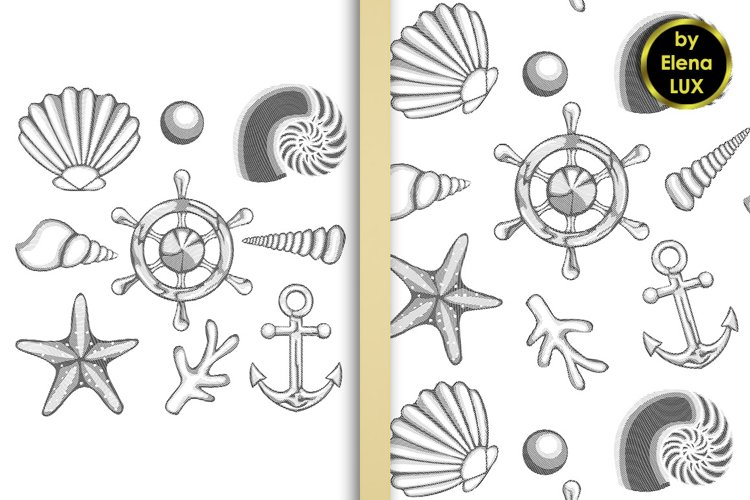 Hatched sea set and seamless pattern