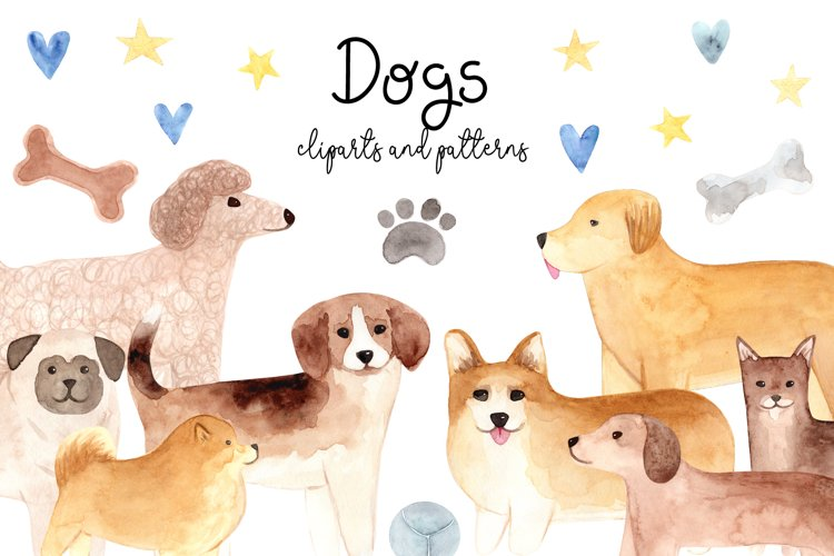 Watercolor Cute Dogs. Patterns and Cliparts example image 1