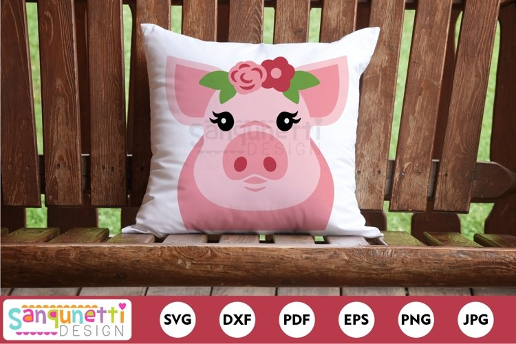 Cute pig with with flowers SVG cutting file