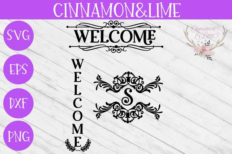 Welcome Vintage Wood Sign SVG Plus Monogram Frame example image 1