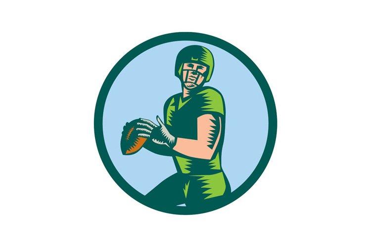 American Football QB Throwing Circle Woodcut example image 1