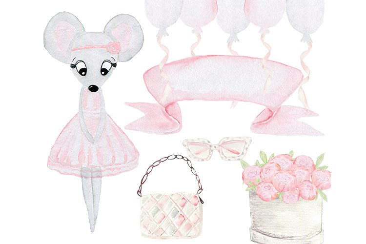 Mouse clipart. Watercolor mouse. Baby shower clipart.