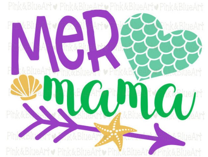 MER MAMA mermaid svg shirt design summer  example image 1