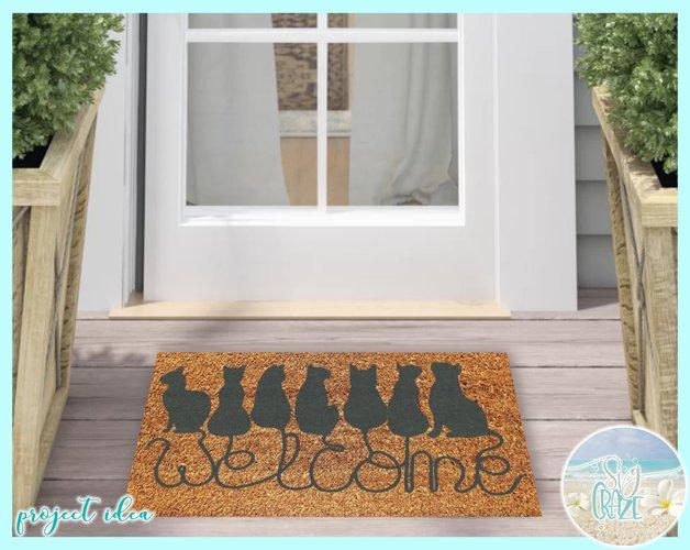 Cats Welcome Coir Door Mat Design Svg Dxf Eps Png Pdf Files - Free Design of The Week Design0