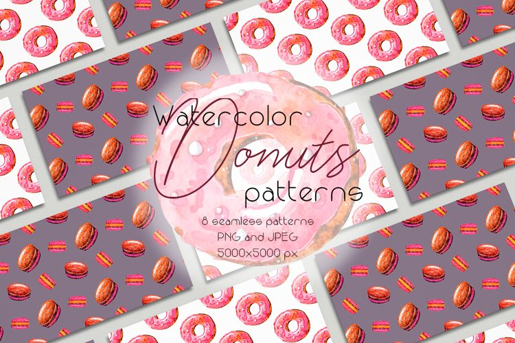 Watercolor Donuts patters collection